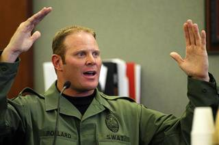 Henderson Police SWAT Officer Brian Pollard testifies to the events that led him to shoot Richard Nolton Sr. during an inquest into the shooting at the Regional Justice Center Friday, Sept. 10, 2010.  Nolton was shot in Henderson in July.