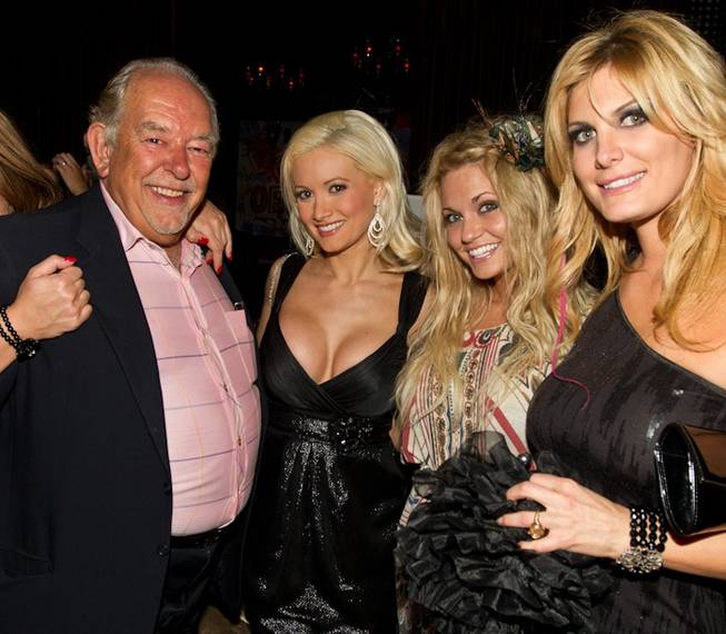 Robin Leach, Holly Madison, Angel Porrino and Rain Andreani at Leach and Michael Boychuck's birthday party at Blush in the Wynn on Sept. 10, 2010.