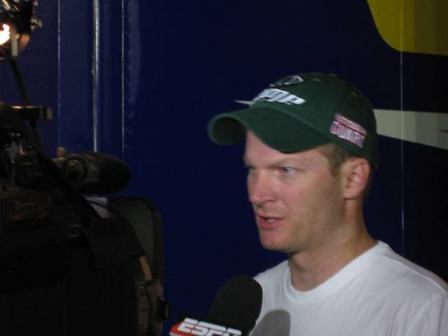 Dale Jr. talking with a few members of the media after the race.