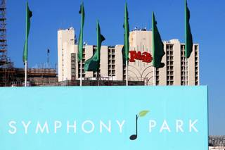 Symphony Park is under construction with the Plaza Hotel & Casino looming in the background.