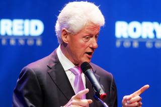 Former President Bill Clinton stumps for gubernatorial candidate Rory Reid at the House of Blues in Mandalay Bay Wednesday, September 15, 2010.