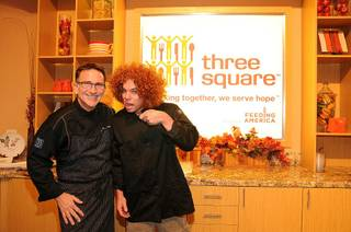 Chef Rick Moonen and Carrot Top host a cooking demonstration at Three Square Food Bank to benefit the Grant A Gift Autism Foundation on Sept. 15, 2010.