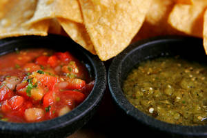 Chips and two salsas are available as a bottomless appetizer at El Segundo Sol in the Fashion Show Mall.