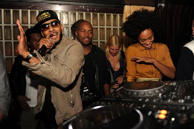 Swizz Beats and Solange Knowles perform at the grand opening of Lavo in New York City.