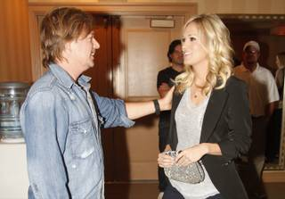 Carrie Underwood and David Spade backstage at The Venetian Showroom.