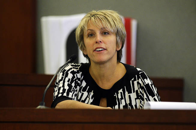 Dr. Shari Klein, one Erik Scott's physicians, testifies during a coroner's inquest at the Regional Justice Center Wednesday, September 22, 2010. Scott was shot and killed by Metro Police Officers at the Summerlin Costco store on July 10.