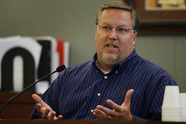 David Teigen, of Seagate Recovery Services, testifies during a coroner's inquest at the Regional Justice Center Thursday, September 23, 2010.