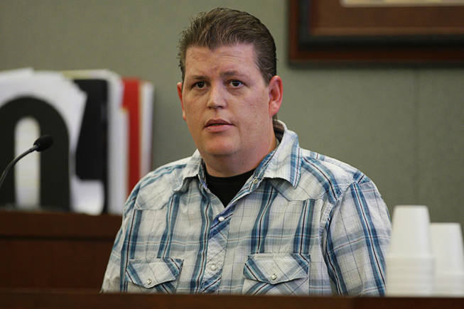Jason Swords, of Vegas Valley Locking Systems, testifies during a coroner's inquest at the Regional Justice Center Thursday, September 23, 2010.