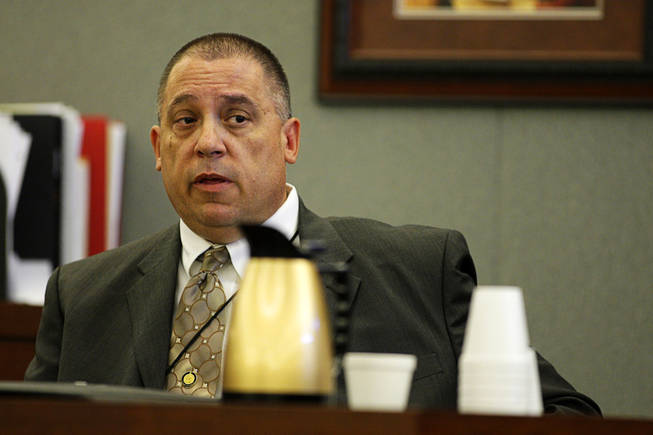 William Falkner, investigative supervisor for the District Attorney's Office, testifies during a coroner's inquest for Erik Scott at the Regional Justice Center Friday, September 24, 2010. Falkner described his  efforts to contact Erik Scott's girlfriend and other witnesses.