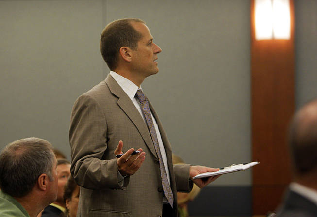 Ross Goodman, attorney for the Scott family, speaks to the court during a coroner's inquest for Erik Scott at the Regional Justice Center Friday, September 24, 2010.