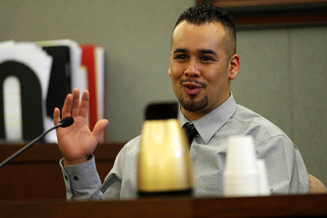Javier Torres, a Costco manager, testifies during a coroner's inquest for Erik Scott at the Regional Justice Center Friday, September 24, 2010. Torres also testified that he thought Scott may have been on drugs and was not acting normal.