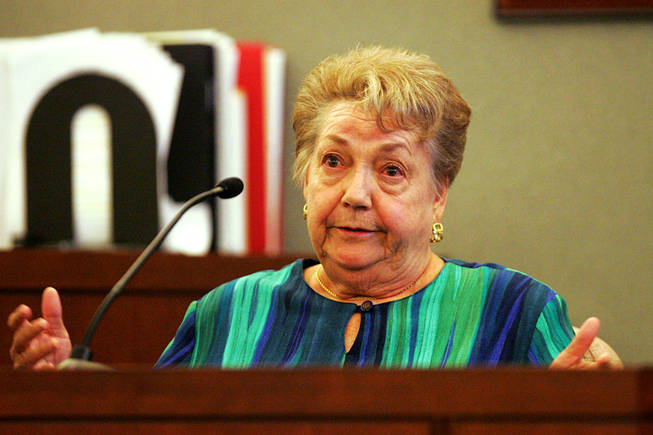 Evelyn Eckels testifies during a coroner's inquest for Erik Scott at the Regional Justice Center Saturday, September 25, 2010.