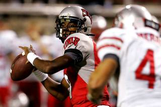 With UNLV up 45-10 over New Mexico, freshman quarterback Caleb Herring gets some snaps during their Mountain West Conference game Saturday, September 25, 2010.