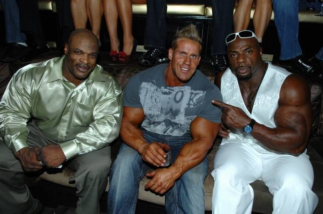 Jay Cutler, flanked by Ronnie Coleman and Toney Freeman, celebrates his fourth Mr. Olympia title at Blush in the Wynn on Sept. 25, 2010.