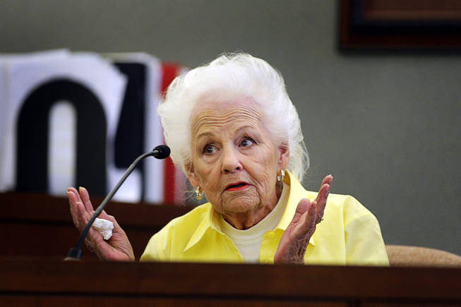 Bettie Lou Travis, who works at Costco giving food samples, testifies during a coroner's inquest for Erik Scott at the Regional Justice Center Monday, September 27, 2010.