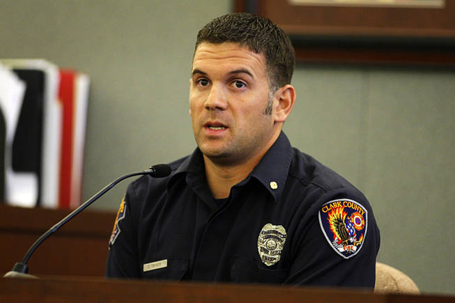 Clark County firefighter Chris Thorpe testifies during a coroner's inquest for Erik Scott at the Regional Justice Center Monday, September 27, 2010. Scott was shot and killed by Metro Police Officers at the Summerlin Costco store on July 10.