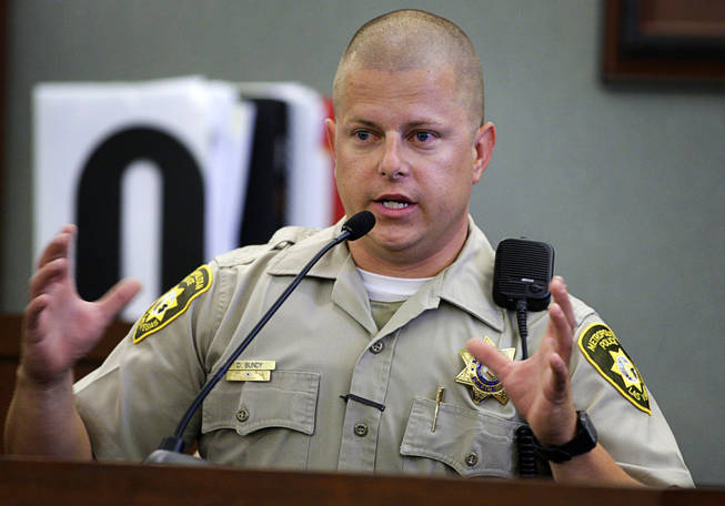 Metro Police Officer Dustin Bundy testifies during a coroner's inquest for Erik Scott at the Regional Justice Center on Tuesday, Sept. 28, 2010.