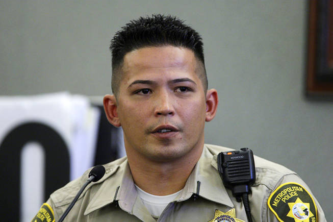 Metro Police Officer Thomas Mendiola testifies during a coroner's inquest for Erik Scott at the Regional Justice Center Tuesday, September 28, 2010.