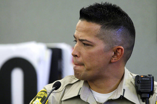 Metro Police Officer Thomas Mendiola testifies during a coroner's inquest for Erik Scott at the Regional Justice Center on Sept. 28, 2010. Scott was shot and killed by Metro officers at the Summerlin Costco store July 10.