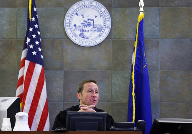 Justice of the Peace Tony Abbatangelo  speaks to the jury during a coroner's inquest for Erik Scott at the Regional Justice Center Tuesday, September 28, 2010. Scott was shot and killed by Metro Police Officers at the Summerlin Costco store on July 10.