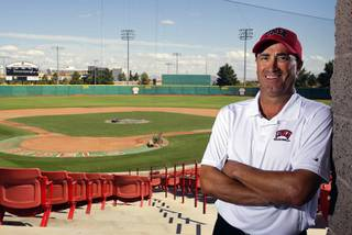 First-year UNLV baseball coach Tim Chambers poses at Wilson Stadium at UNLV Wednesday, October 6, 2010. Chambers has plans to make major improvements to the facility.
