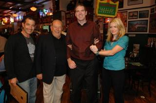Jeff Marks, Robin Leach, Scott Frost and Megan Powell at Hussong's Cantina in Mandalay Place.