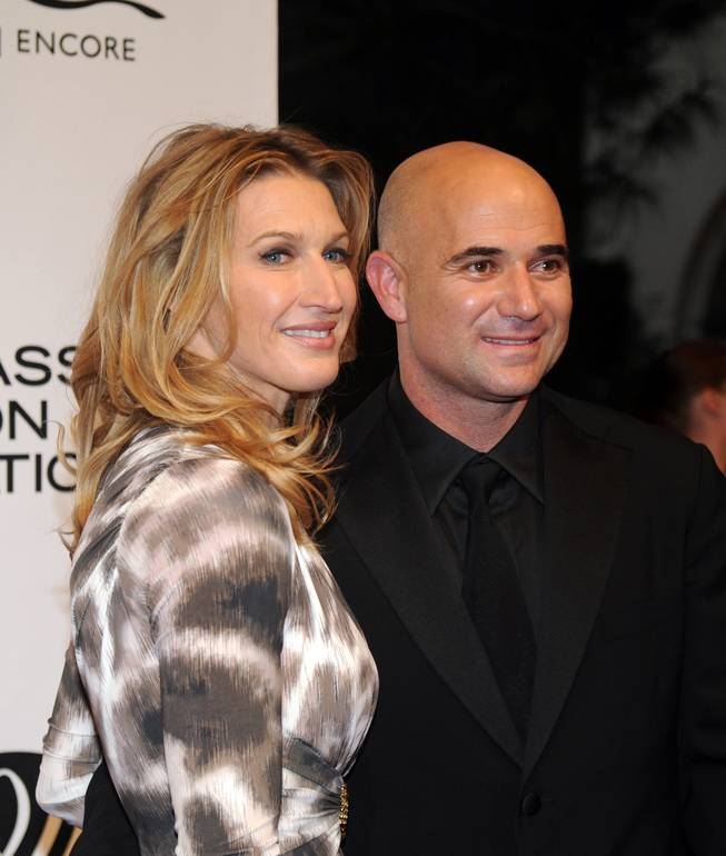 Steffi Graf and Andre Agassi on the Andre Agassi Grand Slam red carpet at the Wynn on Oct. 9, 2010.