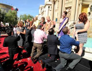 Donny Osmond emcees 10/10/10 marriage proposals at Caesars Palace on Oct. 10, 2010.