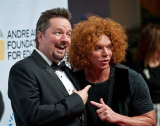 Terry Fator and Carrot Top on the Andre Agassi Grand Slam red carpet at the Wynn on Oct. 9, 2010.