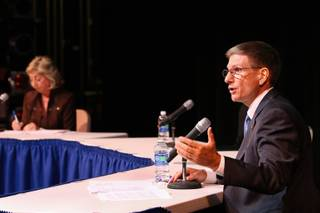 Joe Heck clarifies his position on education, refuting remarks by Rep. Dina Titus during a 3rd Congressional District debate Saturday at the CSN Cheyenne Campus.