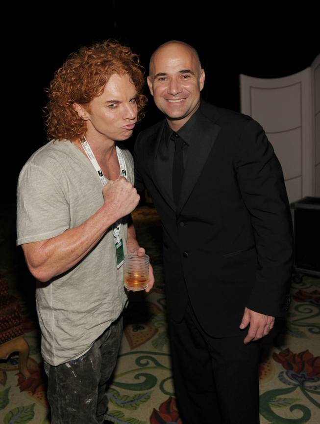 Carrot Top and Andre Agassi at the Andre Agassi Grand Slam benefit at the Wynn on Oct. 9, 2010