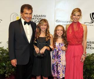 Steve Wynn, his granddaughter Marlowe Early, her friend Casey Glasser and Andrea Hissom on the Andre Agassi Grand Slam red carpet at the Wynn on Oct. 9, 2010.