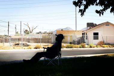 Curtiss Lewis, Sr. relaxes in Lubertha Johnson Park Monday, October 11, 2010 in the Las Vegas neighborhood bordered by Carey Avenue to the north, Lake Mead Boulevard to the south, Revere Street to the east and Comstock Drive to the west. The neighborhood was named the third worst neighborhood in America by the website WalletPop.