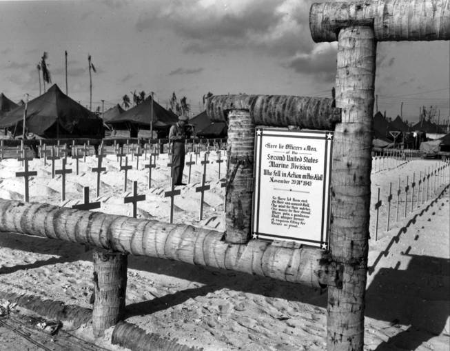 Officers and personnel of the 2nd U.S. Marine Division who fell in the battle for Tarawa atoll, Gilbert Islands, in November 1943, are buried in this cemetery, shown here on March 20, 1944.