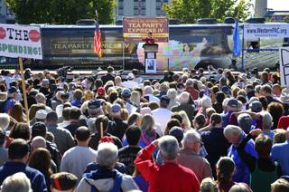 Former Alaska governor Sarah Palin speaks to the crowd during the kickoff of the nationwide Tea Party Express bus tour in Reno on Monday, Oct. 18, 2010.