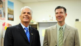 Sen. John Ensign (R) tours West Prep High School with Principal Mike Barton on Monday, Oct. 18, 2010.