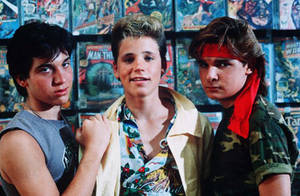 Jamison Newlander, Corey Haim and Corey Feldman in 1987's <em>The Lost Boys</em>.