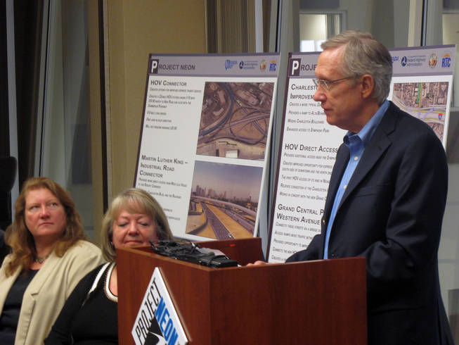 Sen. Harry Reid speaks to the press about Project Neon on Thursday, Oct. 22 at the Freeway and Arterial System of Transportation facility. Reid announced that Project Neon, which will dramatically change Interstate 15 in Las Vegas, gained federal approval to proceed this week.
