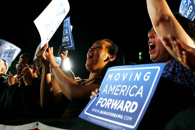 "Supporters cheer during President Barack Obama's speech outside Orr Middle School at a ""Moving America Forward"" rally Friday, October 22, 2010."