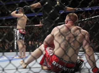 Cain Velasquez, left, celebrates after he defeated Brock Lesnar in UFC 121 in Anaheim, Calif., on Saturday. Velasquez won by TKO in the first round.