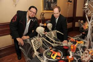 Penn Jillette and Teller at the 10th anniversary celebration of Penn & Teller and their new three-year contract at The Rio on Oct. 26, 2010.