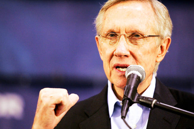 Sen. Harry Reid speaks during a rally Friday at Orr Middle School in Las Vegas.