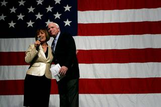 Sharron Angle introduces Sen. John McCain at a campaign rally for Angle on Friday at the Orleans.