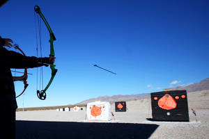 The Clark County Shooting Park archery range in Las Vegas held its first Annual Pumpkin Smash Saturday.  Participants were able to shoot at paper pumpkins and real pumpkins that oozed green goo.