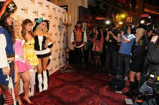 Josh Strickland, Holly Madison, Laura Croft and Angel Porrino at Studio 54 in MGM Grand on Oct. 30, 2010.