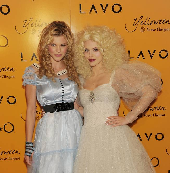 Angel McCord and AnnaLynne McCord at Veuve Clicquot's Yelloween at Lavo in the Palazzo on Oct. 30, 2010.