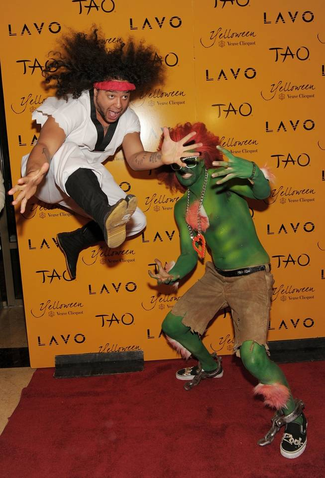 LMFAO arrive Veuve Clicquot's Yelloween at Lavo in the Palazzo before heading to Tao in The Venetian on Oct. 30, 2010.
