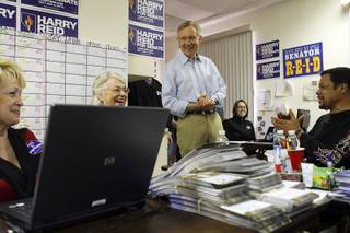 Senate Majority Leader Harry Reid speaks to volunteers during a stop at his campaign headquarters in Summerlin Tuesday, November 2, 2010.