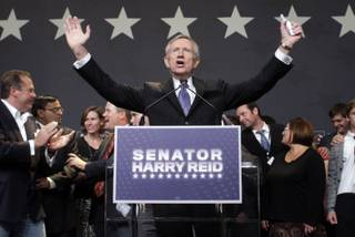 Senate Majority Leader Harry Reid gives a victory speech during a Democratic election party at Aria on Tuesday, Nov. 2, 2010.