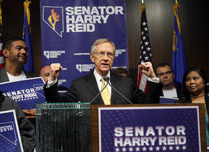 Senate Majority Leader Harry Reid answers questions about his re-election during a news conference at Vdara Wednesday, November 3, 2010.